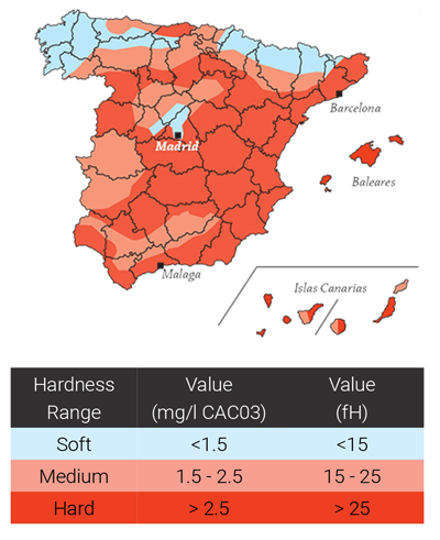 Water Hardness Levels in Spain